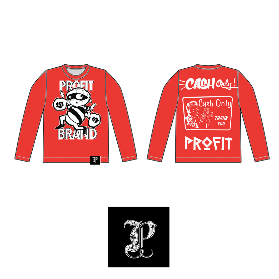 Profit Robber Long Sleeve Red Tee