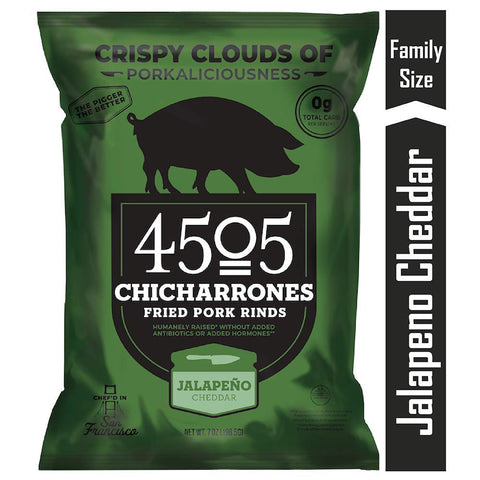 4505 Jalapeno Cheddar Pork Rinds, Family Size Bag, 7oz
