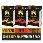 Bone Broth Variety Pack by Kettle and Fire 10g of Protein (Pack of 3)