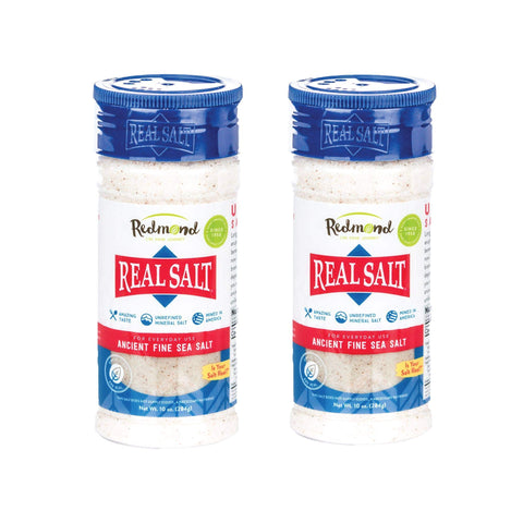 Redmond Real Sea Salt - Organic Gluten Free Fine, 10 Ounce Shaker (2 Pack)