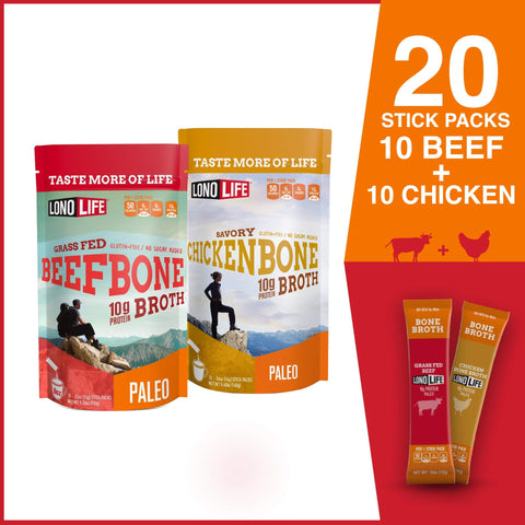 LonoLife Beef & Chicken Bone Broth Combo Pack - 10 Sticks/ Each
