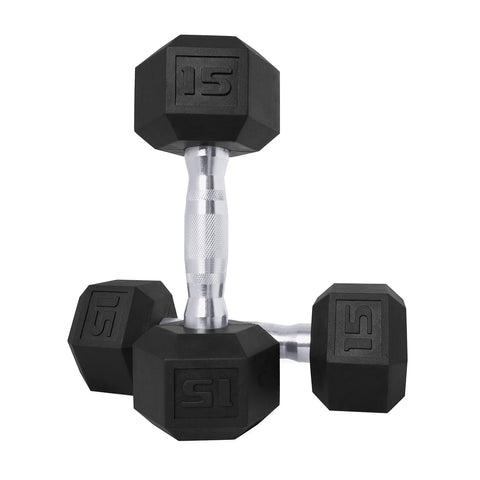 CAP Barbell Coated Hex Dumbbell, Black, 15 pound, Pair