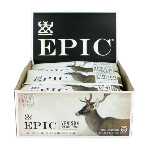 EPIC Venison Sea Salt & Pepper Grass-Fed Protein Bars, 1.5 Oz, Pack of 12