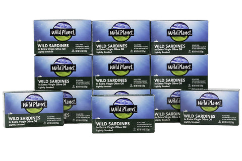Wild Planet Sardines in Extra Virgin Olive Oil, Lightly Smoked, Pack of 12