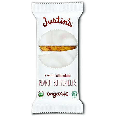 Justin's Organic White Chocolate Peanut Butter Cups - 12 Packs of 2-Cups each