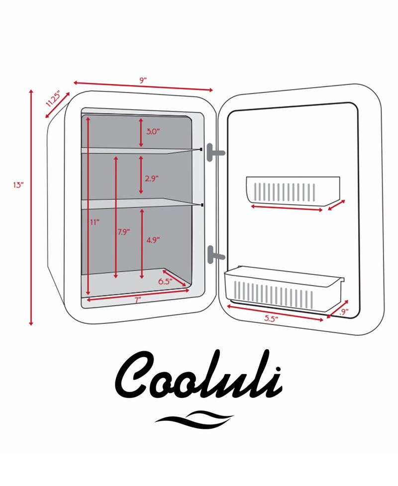 cooluli classic 10 liter teal mini fridge dimensions measurements