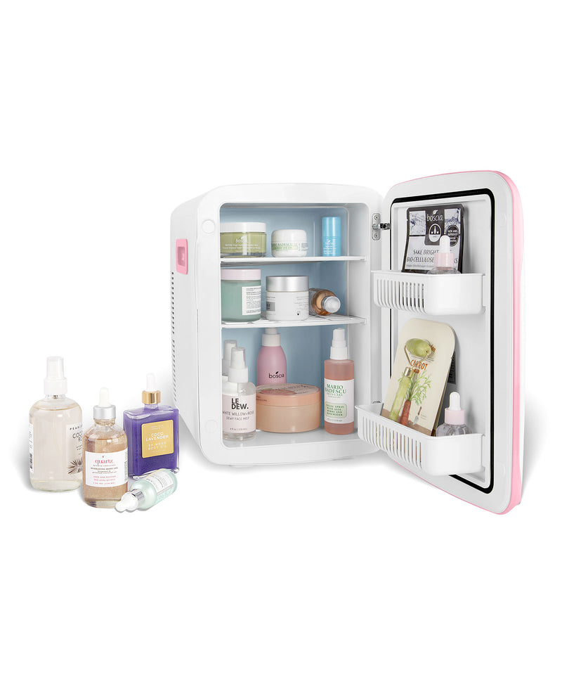 cooluli classic 15 liter pink portable skincare mini fridge