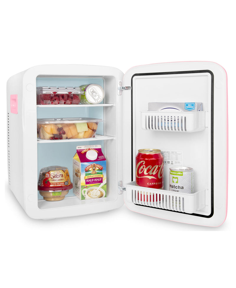 cooluli classic 15 liter pink portable mini fridge for food