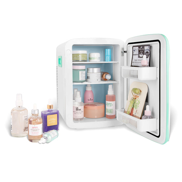 cooluli classic 15 liter teal portable skincare mini fridge
