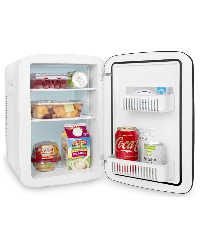 cooluli classic 15 liter white portable mini fridge for food