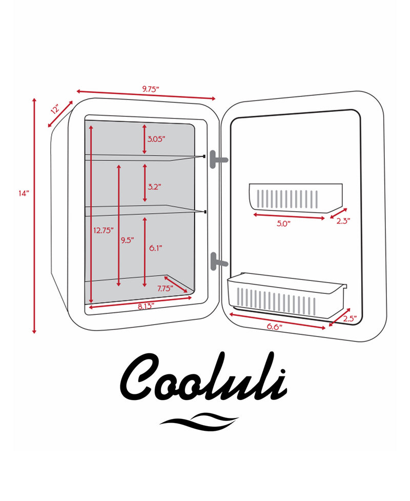 cooluli classic 15 liter white portable mini fridge dimensions measurements