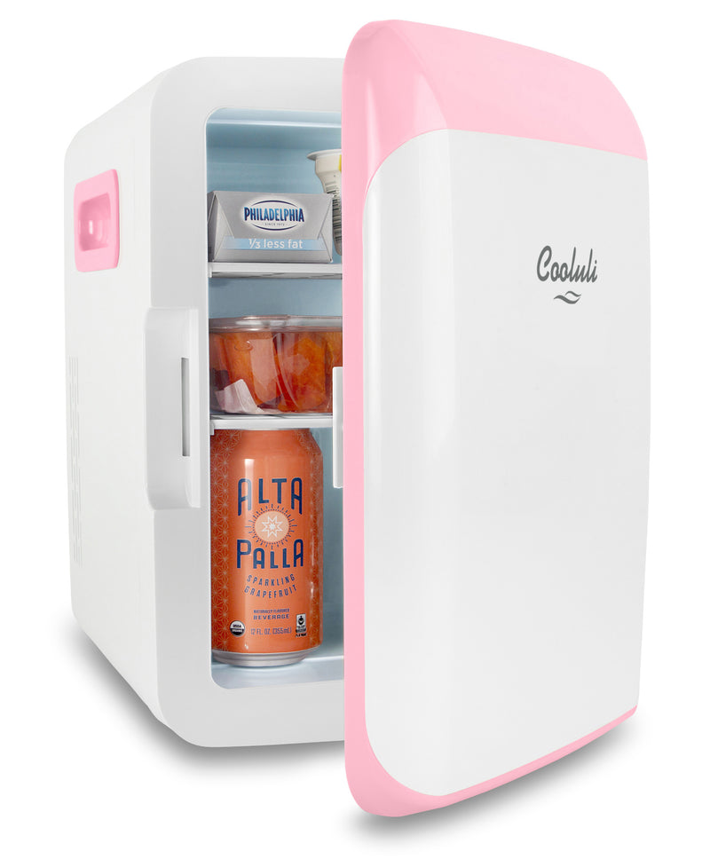 cooluli classic 10 liter pink mini fridge door
