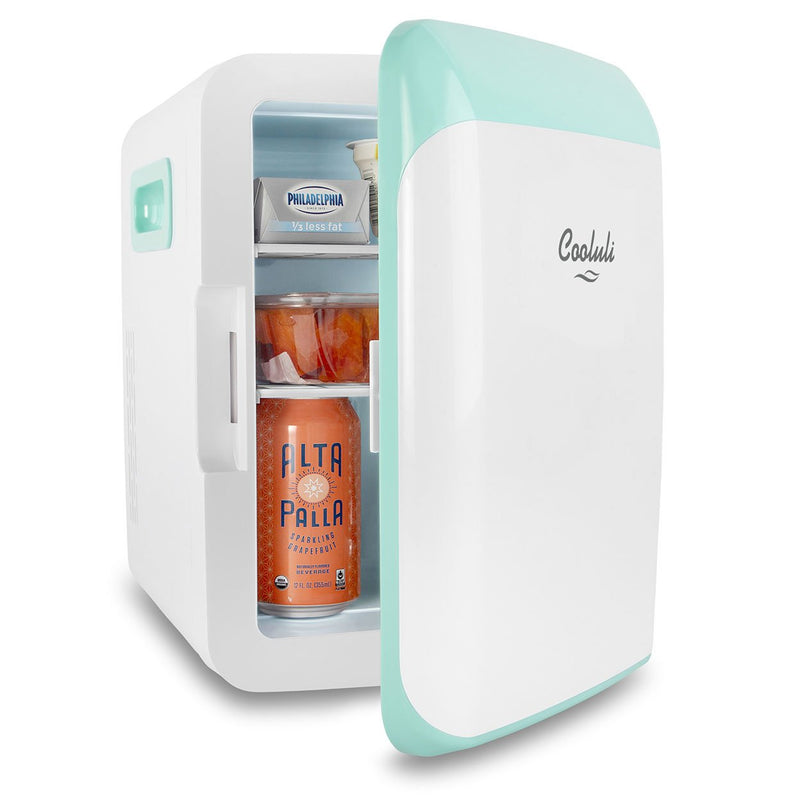 cooluli classic 10 liter teal mini fridge door