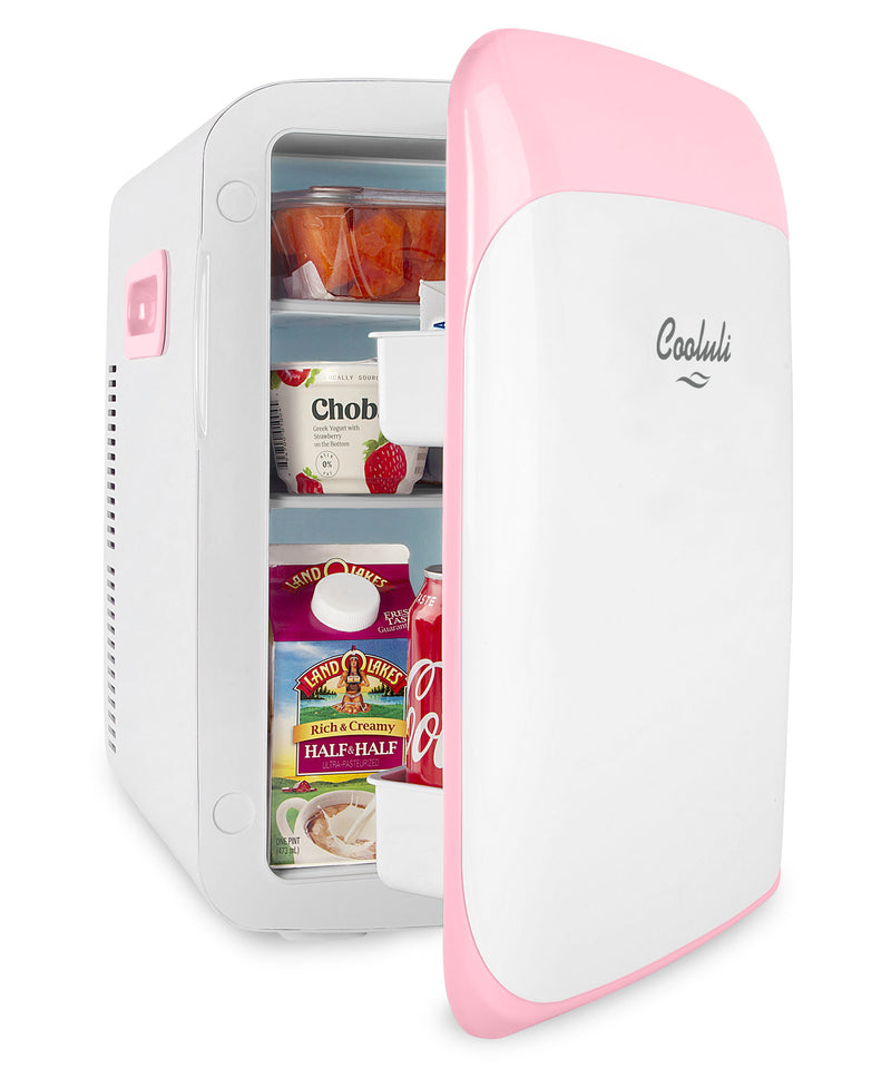 cooluli classic 15 liter pink portable mini fridge door