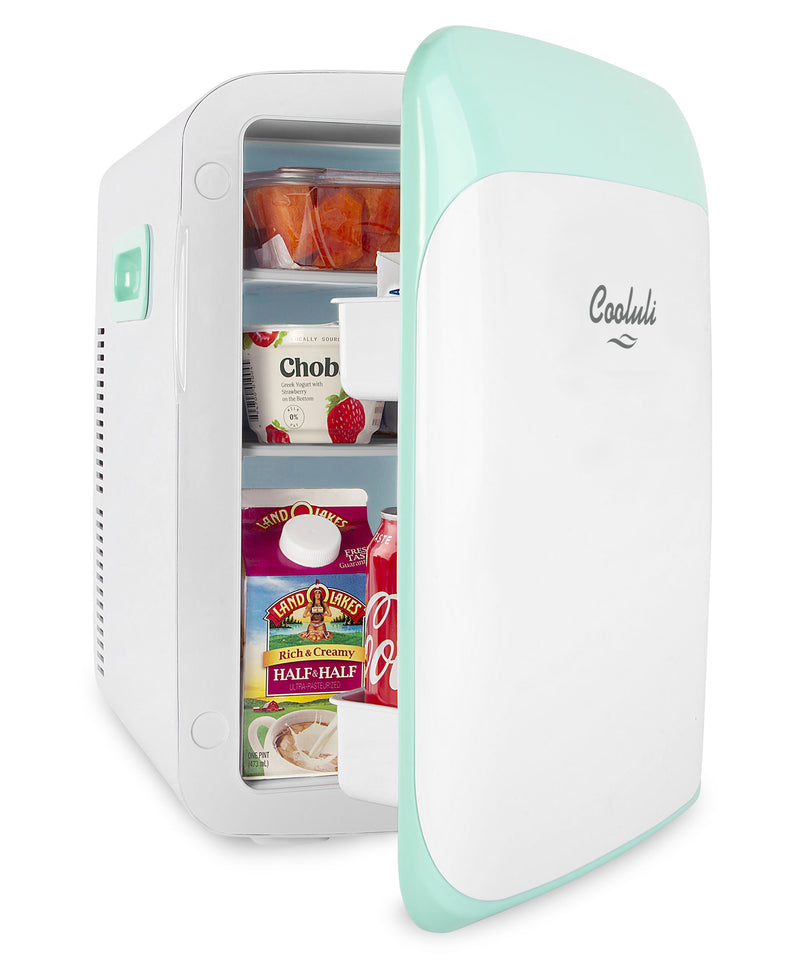 cooluli classic 15 liter teal portable mini fridge door