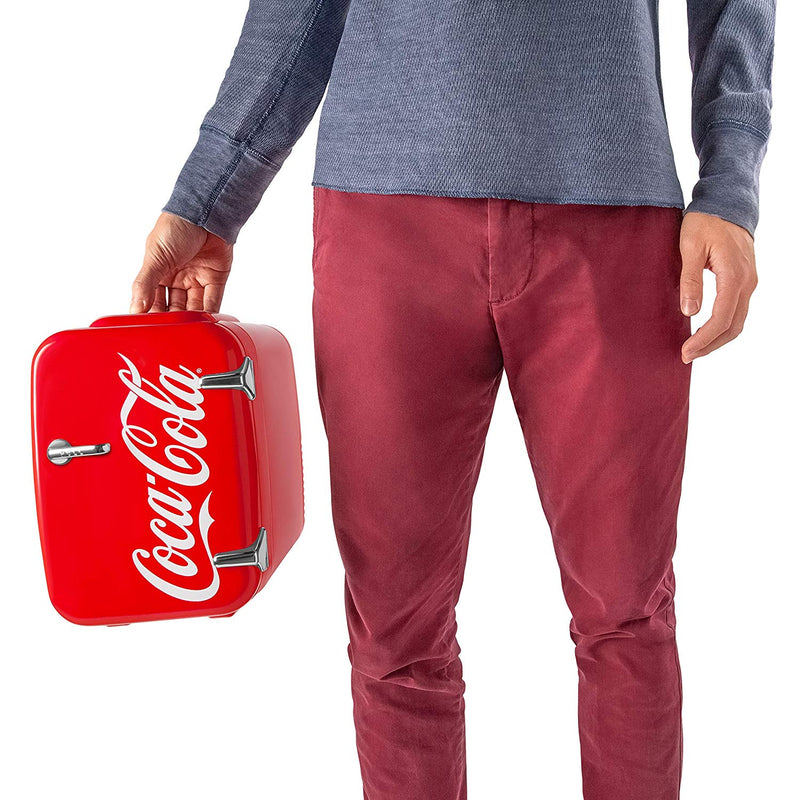 Coca-Cola Vintage Chic 4 Liter Red Mini Fridge with Handle