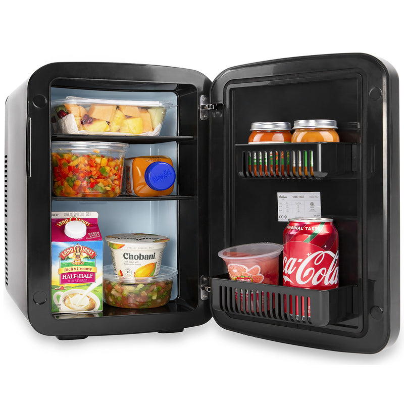 Vibe 15 Liter Chalkboard Black Mini Fridge for Food