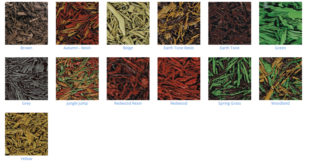 Rubber Mulch colour choices with Supreme Lawns