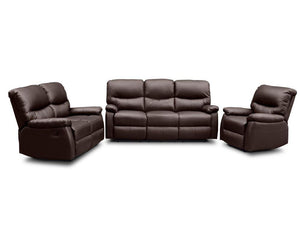 TSB Living Sofa Default 3 SEATER RECLINER SOFA BROWN PU LEATHER