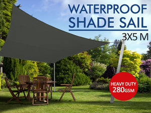 TSB Living TSB Living Default 280gsm Waterproof shade sail 3x5m Grey