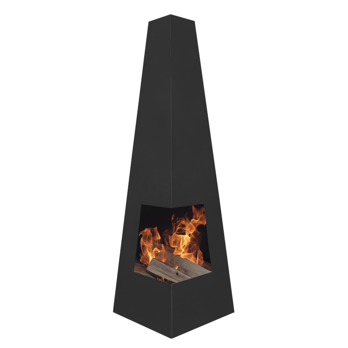 Dellonda Lavenham Outdoor Chiminea, Fireplace, Fire Pit, Heater - Black Steel