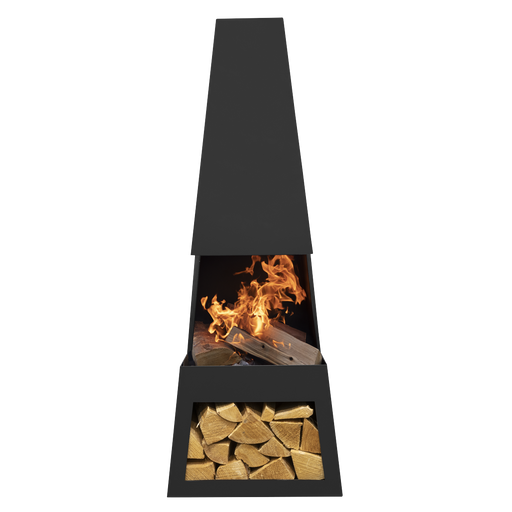 Dellonda Melford Outdoor Chiminea, Fireplace, Fire Pit, Heater with Firewood Storage - Black Steel