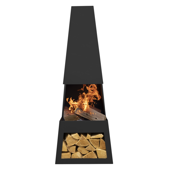 DG28 - Melford Outdoor Chiminea, Fireplace, Fire Pit, Heater with Firewood Storage - Black Steel