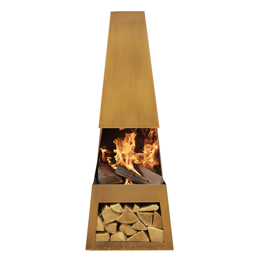 DG29 - Melford Outdoor Chiminea, Fireplace, Fire Pit, Heater with Firewood Storage - Corten Steel