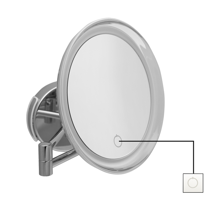"DH2 - 8"" Wall Mounting Extendable LED 5x Magnifying Bathroom Mirror for Shaving & Makeup, 230v"