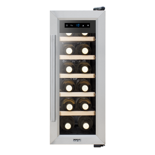 DH28 - Baridi 12 Bottle Wine Cooler Fridge with Touch Screen Controls & LED Light, Low Energy A, Stainless Steel/Black