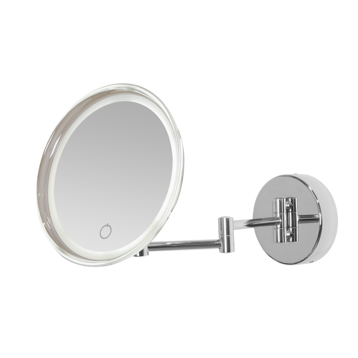 "Dellonda 8"" Wall Mounting Extendable LED 5x Magnifying Bathroom Mirror for Shaving & Makeup, 230v"