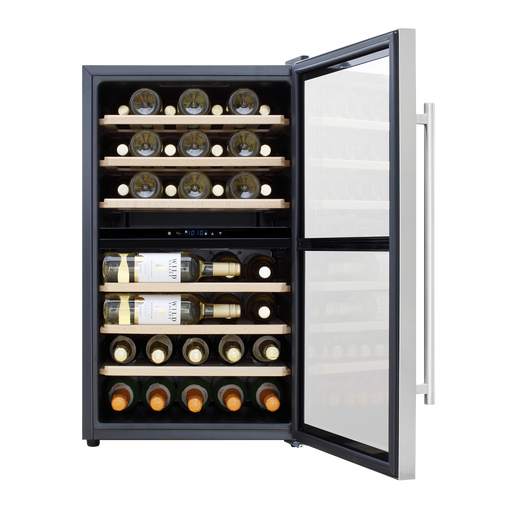 DH30 - Baridi 43 Bottle Dual Zone Wine Cooler, Fridge, Touch Screen Controls, LED - Stainless Steel/Black