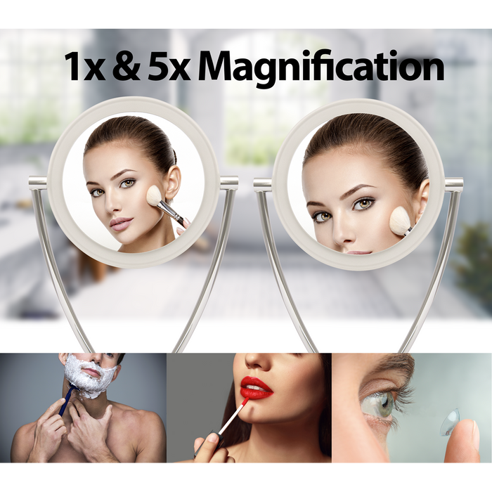 DH3 - 7.5 Inch Double-Sided 1x & 5x Magnifying LED Battery Operated Vanity & Makeup Mirror - Chrome