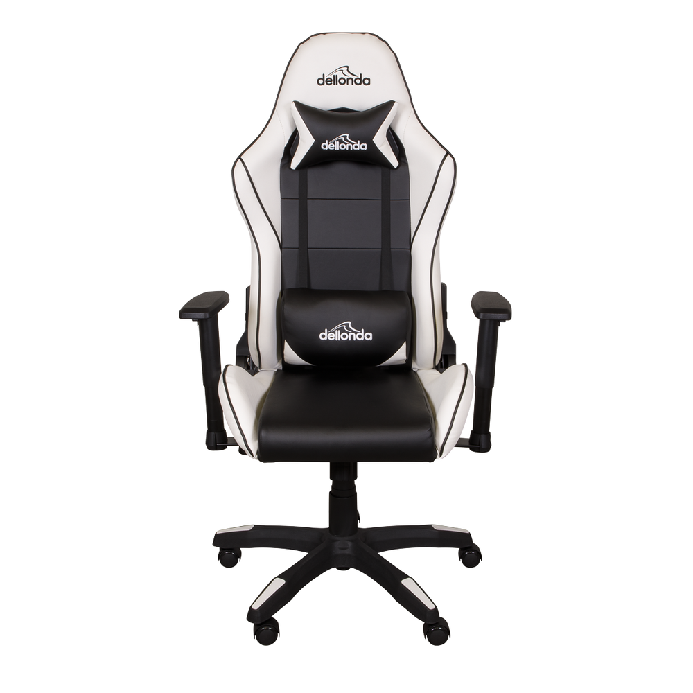 Dellonda Gaming/Office Chair Adjustable, Headrest & Lumbar Support - Black/White