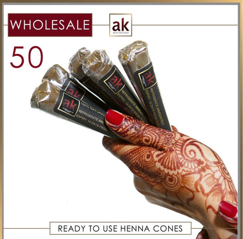50 Ready To Use Henna Cones - WHOLESALE