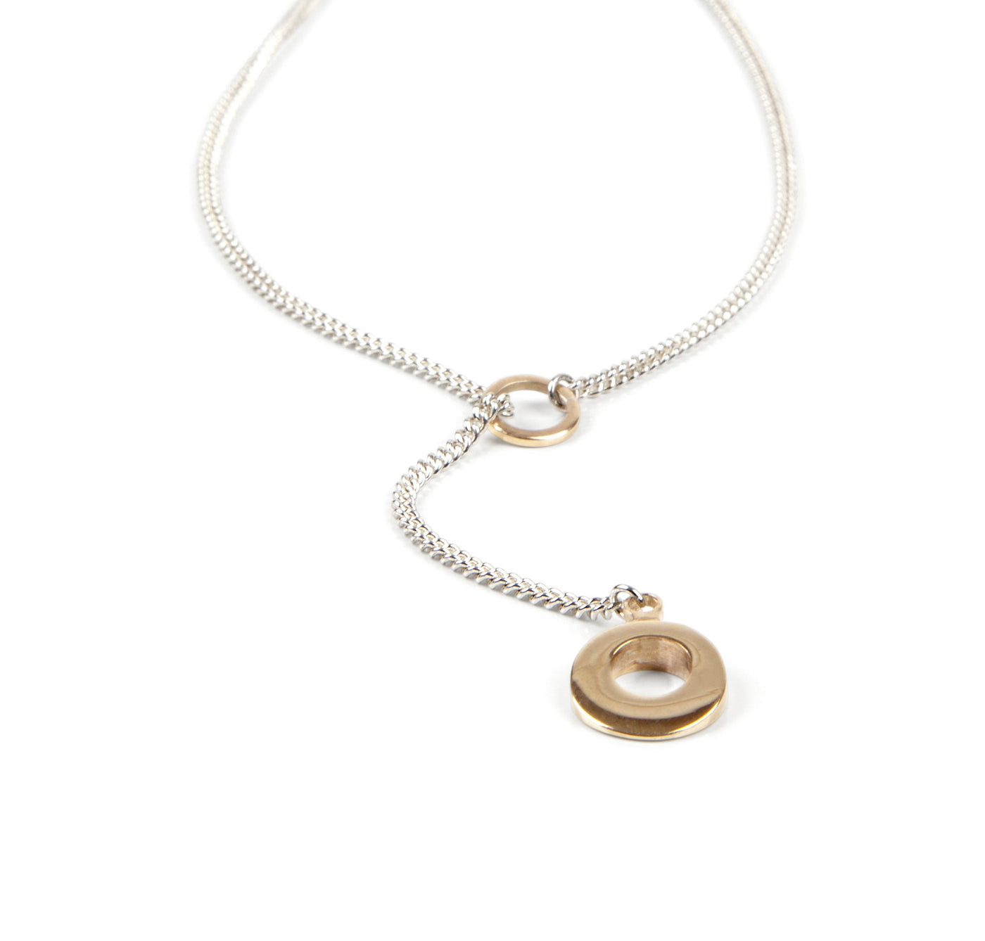 Circle of Dreams Silver and Gold Lariat Pendant.