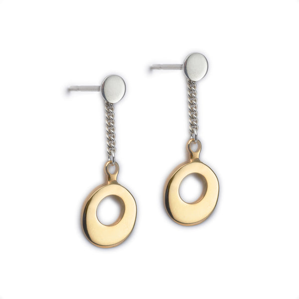 Circle of Dreams Silver & Gold Chain Drop Earrings