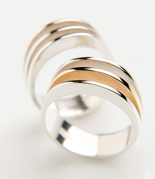Circle of Dreams Rings. Material: Sterling silver or sterling silver & 9ct yellow gold. Measurements: Approximately 7mm across at the front, 6mm across at the back.  Design Year: 2012