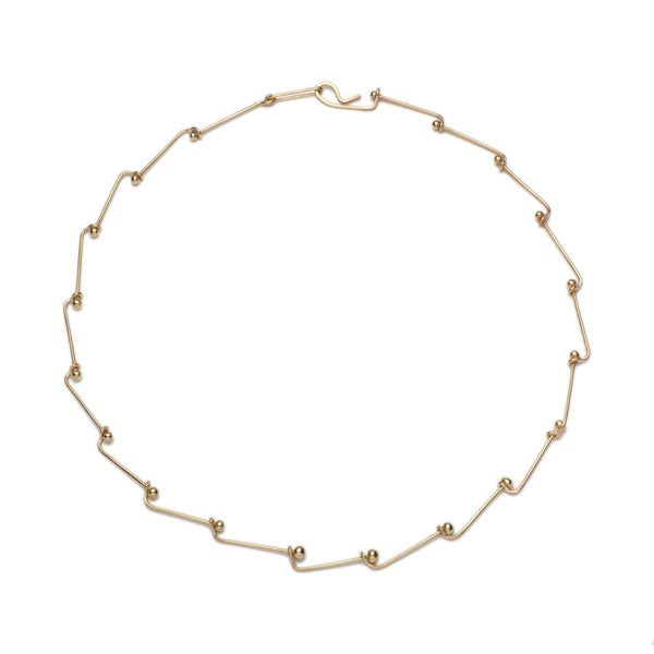Gold Link Necklace. Material: 9ct yellow gold. Measurements: each bar is 3mm long. Design Year: 2000