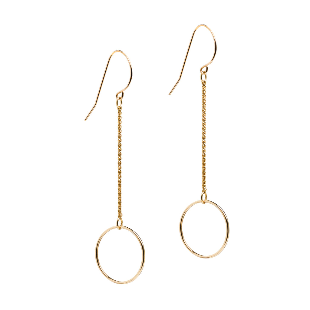Gold Circle Long Chain Earrings