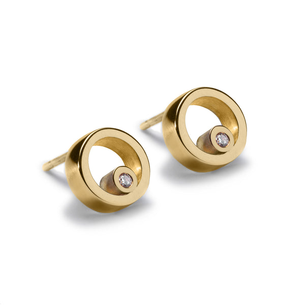 Circles Gold Diamond Stud Earrings