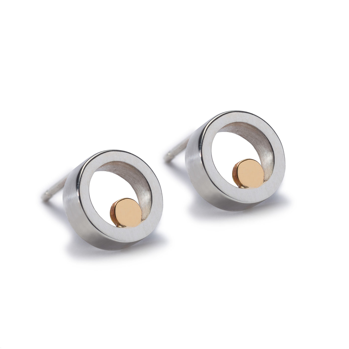 Circles Silver & Gold Stud Earrings