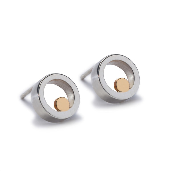Small Silver & Gold Stud Earrings