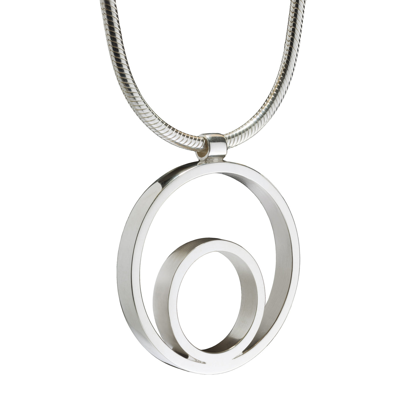 Circles Large Silver Pendant. Unique designer jewellery handcrafted in Ireland.