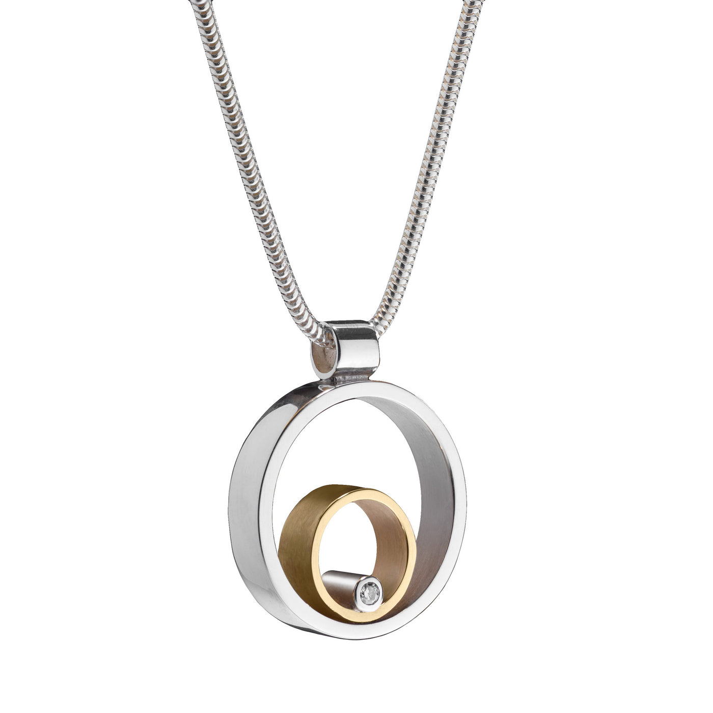 Circles Silver & Gold Diamond Pendant