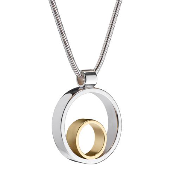 Circles Medium Silver & Gold Pendant