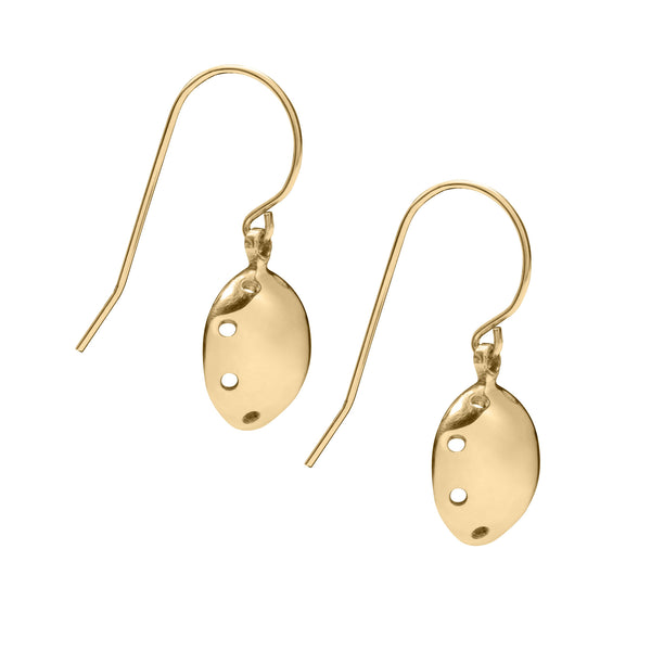 Daisy Days Circular Gold Swing Earrings. Unique designer jewellery handcrafted in Ireland.