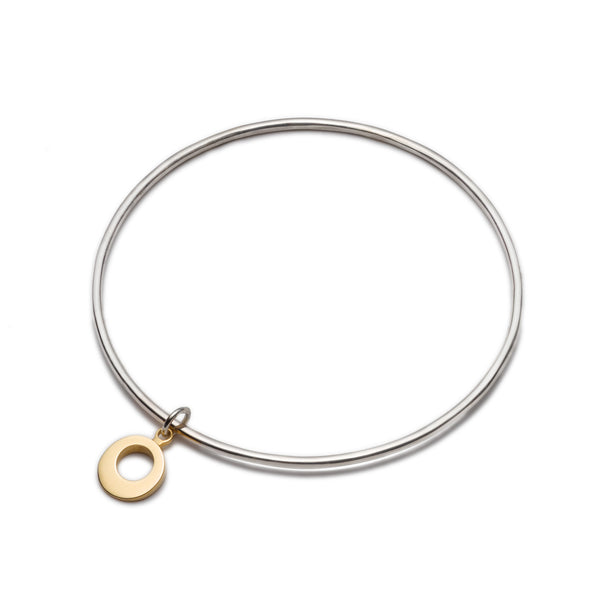 Silver Bangle with Gold Charm. Unique designer jewellery handcrafted in Ireland.