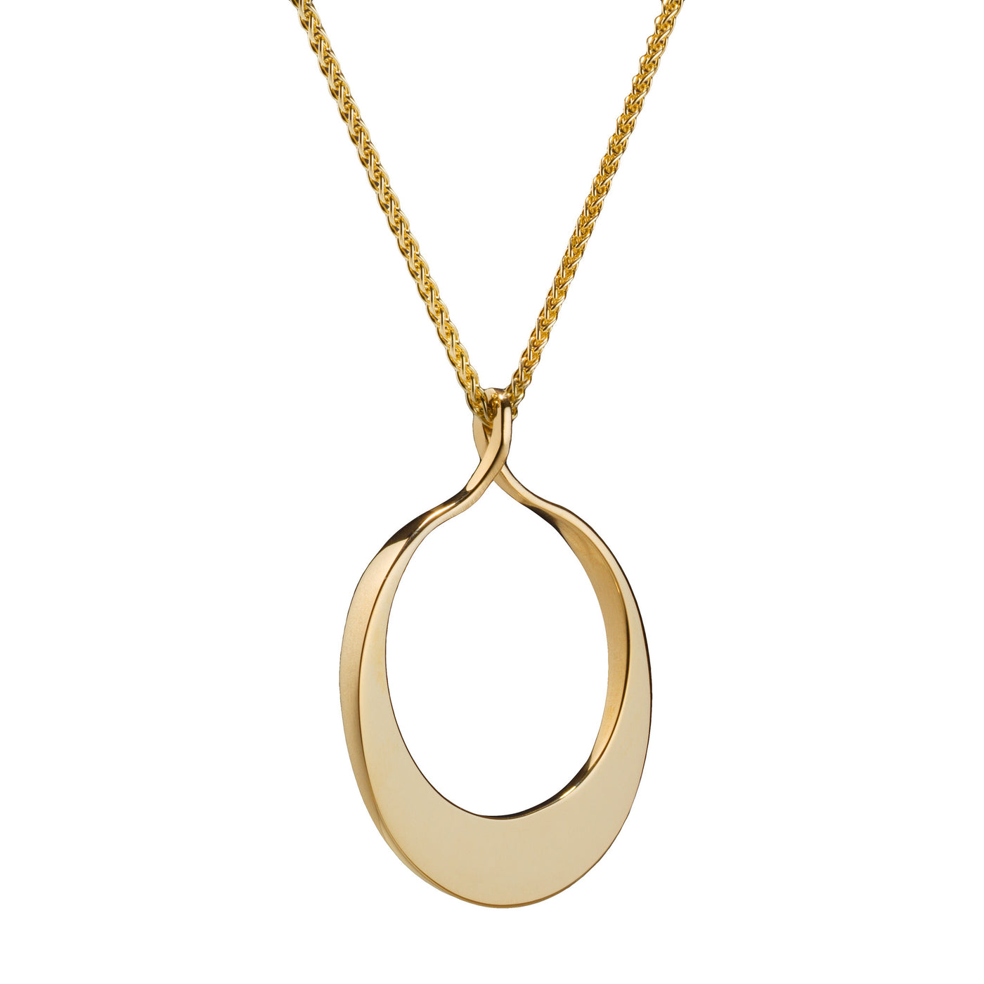 Circle of Dreams Medium Gold Pendant. Material: 9 ct. yellow gold, 18'' spiga chain. Measurements: 32mm across, 40 mm in length. Design Year: 2012