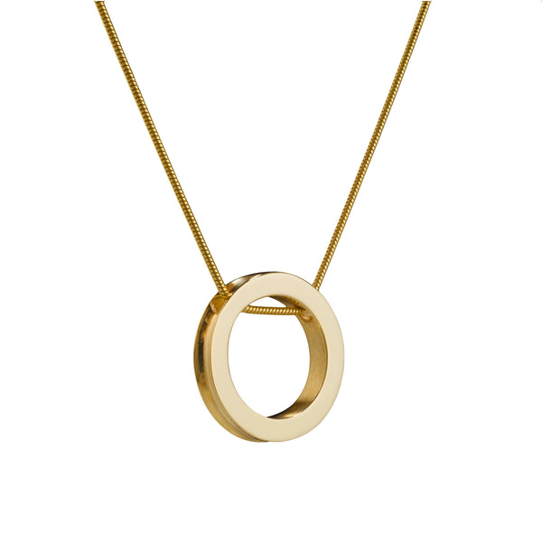 Atlantic Small Round Gold Pendant. Material: 9ct yellow gold. Measurements: 20mm outside diameter. Design Year: 2002
